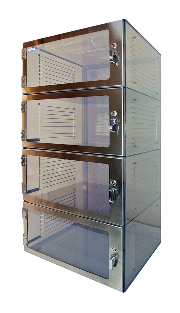 1500 Four Door Desiccator Clear Acrylic